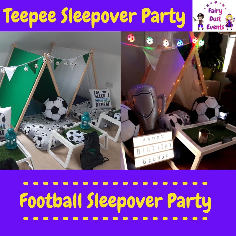 football-sleepover-teepee-party